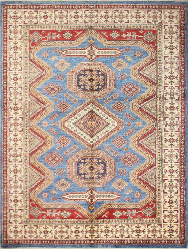 One-of-a-Kind Harrod Hand-Knotted Wool Beige/Light Blue Area Rug