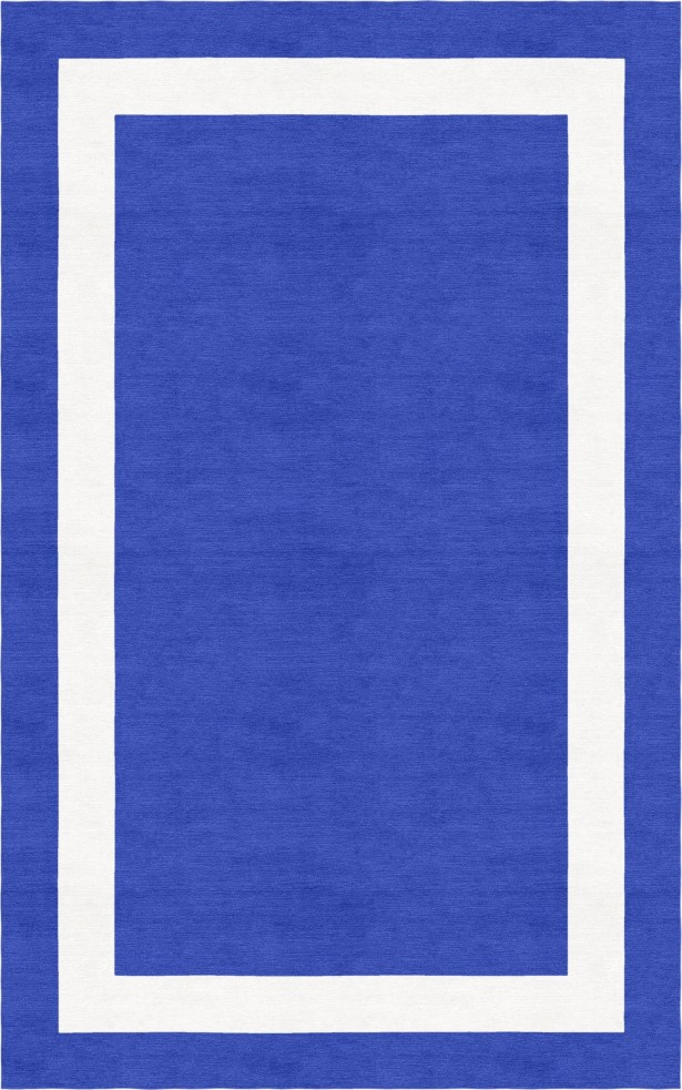 Borsch Border Hand-Tufted Wool Blue/White Area Rug Rug Size: Rectangle 5' x 8'