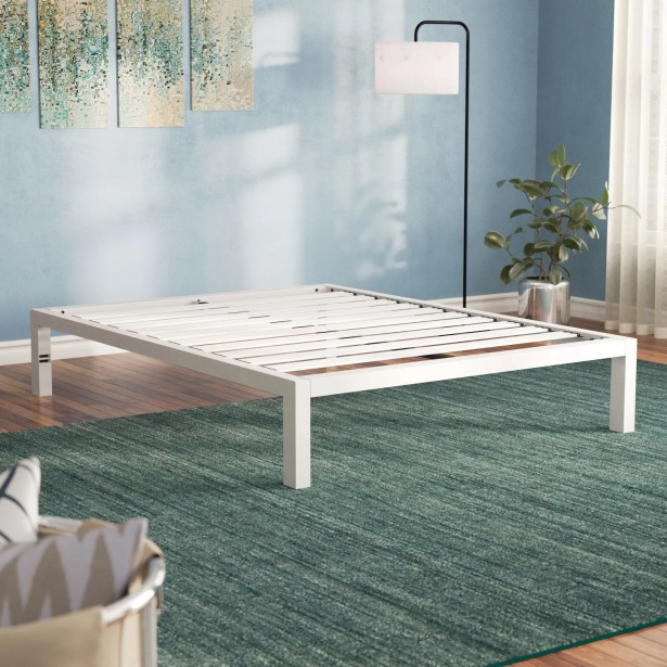 Hulme White Metal Platform Bed Frame Size: King