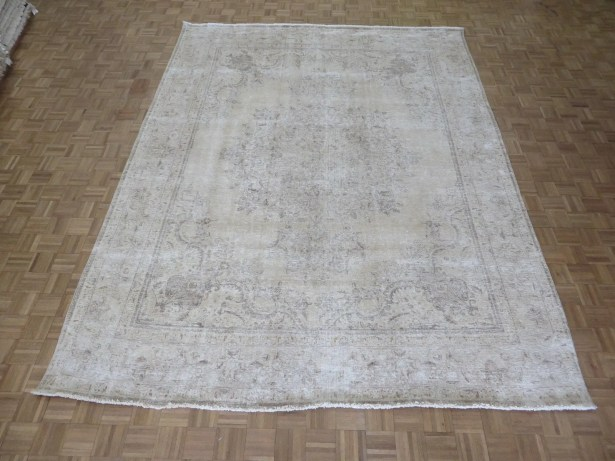 One-of-a-Kind Edinburgh Over-dyed Persian Hand-Knotted Wool Beige Area Rug