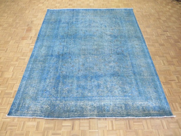 One-of-a-Kind Edinburgh Over-dyed Persian Hand-Knotted Wool Blue Area Rug