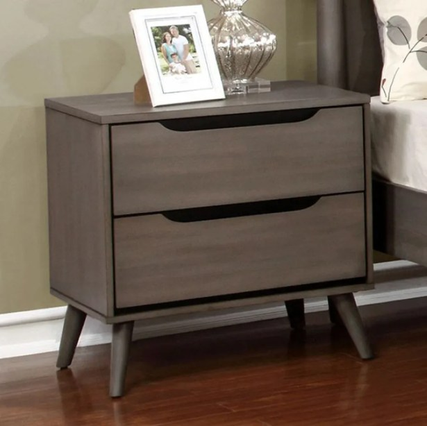 Mollie Mid-Century 2 Drawer Nightstand Color: Gray