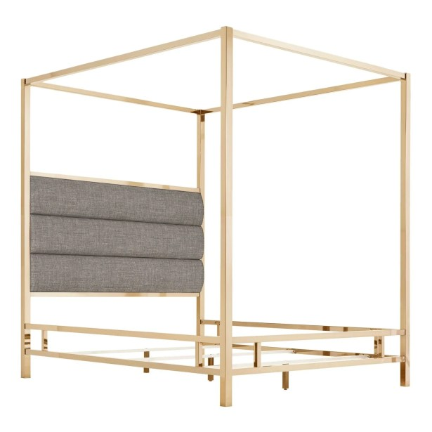 Wicklund Upholstered Canopy Bed Color (Frame/Headboard): Champagne Gold/Gray, Size: Queen