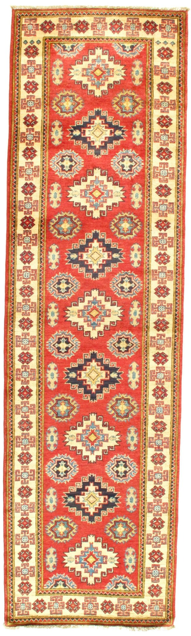 Kazak Design Hand-Knotted Wool Red Area Rug Rug Size: Runner 2'8