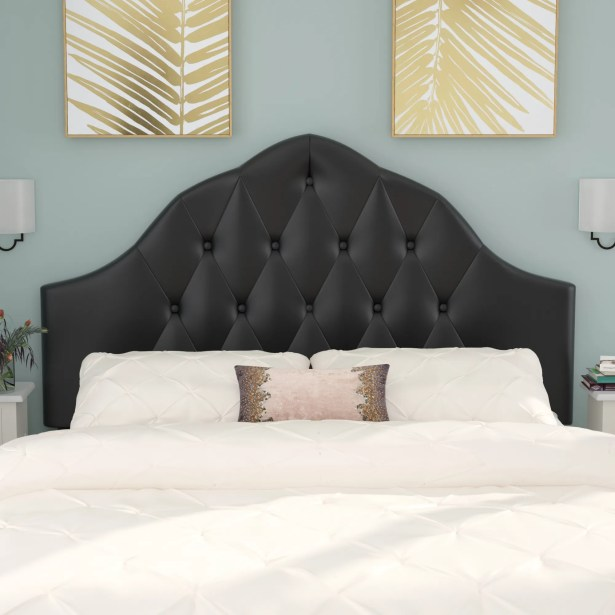 Joao Traditional Upholstered Panel Headboard Upholstery: Black, Size: Queen