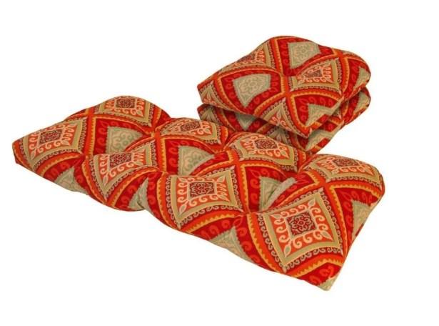 Spanish Tile 3 Piece Outdoor Loveseat/Sofa Cushion Set Fabric: Red/Orange