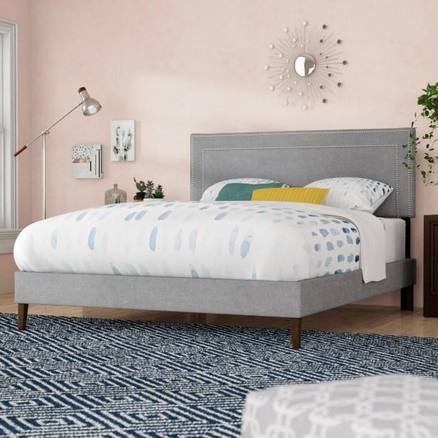 Eyre Upholstered Platform Bed Color: Light Gray, Size: Queen