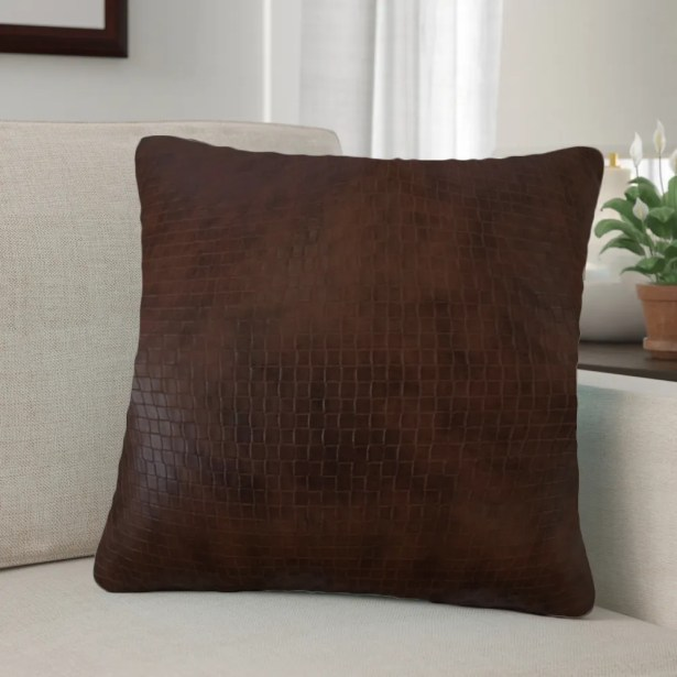 Barile Solid Throw Pillow Color: Dark Brown