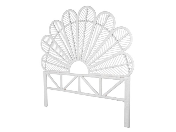 Hirst Rattan Petal Open Frame Headboard Size: Twin, Color: White