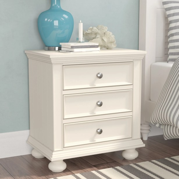 Miami Springs 3 Drawer Nightstand Color: Creamy White