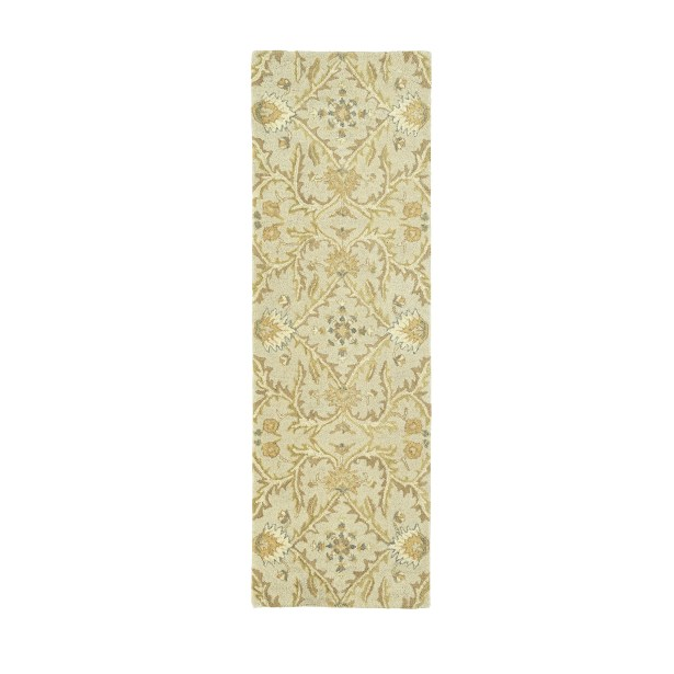 Romarin Hand-Tufted Wool Ivory/Gold Area Rug Rug Size: Runner 2'6