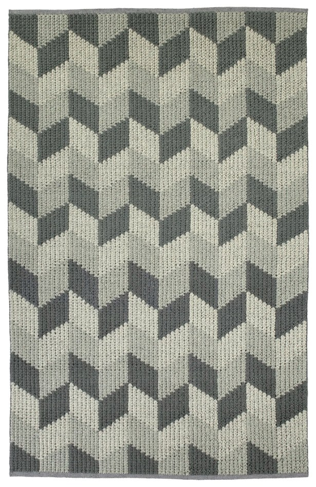 Stockstill Hand-Tufted Wool Gray/Graphite Area Rug Rug Size: Rectangle 3'6