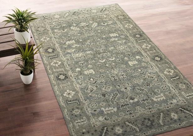 Romeo Hand-Knotted Wool Ivory/Charcoal Area Rug Rug Size: Rectangle 2' x 3'
