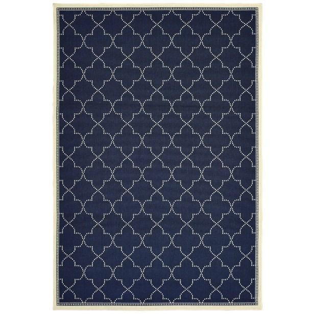 Salerno Simple Lattice Navy Indoor/Outdoor Area Rug Rug Size: Rectangle 8'6