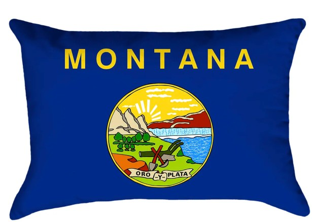 Montana Flag Cover Material: Faux Suede-Concealed Zipper-Indoor, Fill Material: No Fill, Product Type: Pillow Cover