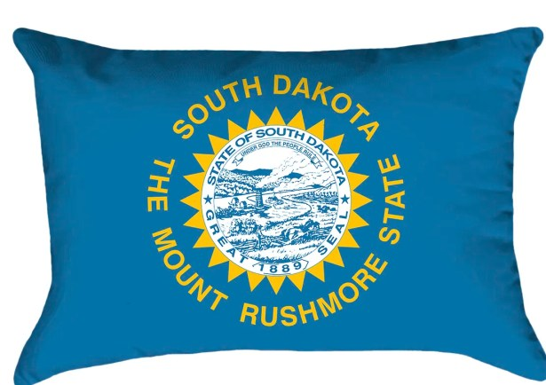 South Dakota Flag Cover Material: Faux Linen-Concealed Zipper and Insert-Indoor, Fill Material: No Fill, Product Type: Pillow Cover