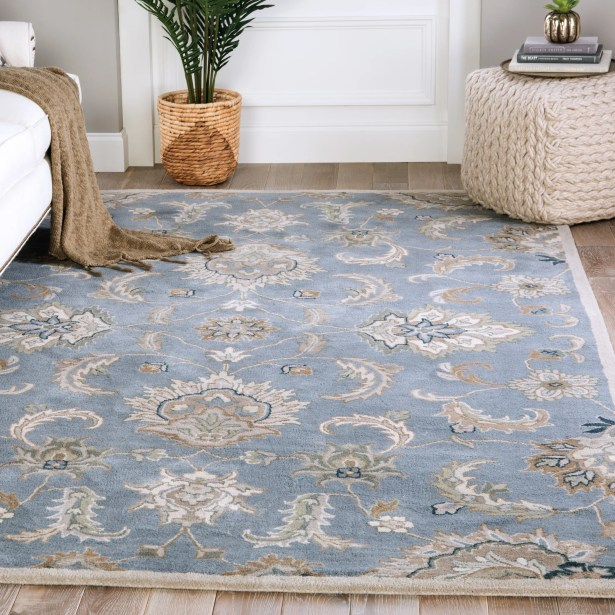 Ruyle Floral Hand-Tufted Wool Blue/Taupe Area Rug Rug Size: Rectangle 8' x 10'