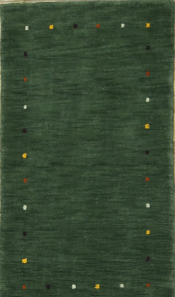 Seidman Indian Oriental Hand-Knotted Wool Green Area Rug