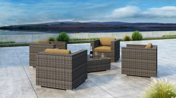 Gilleland 5 Piece Sofa Set with Sunbrella Cushion Cushion Color: Heather Beige