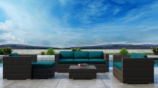 Gilleland 5 Piece Sofa Set with Sunbrella Cushion Cushion Color: Spectrum Peacock