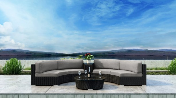 Glendale 4 Piece Sectional Set with Sunbrella Cushion Cushion Color: Cast Silver