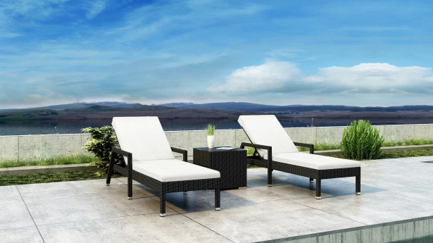 Glendale Sun Lounger Set with Cushions and Table Cushion Color: Canvas Natural