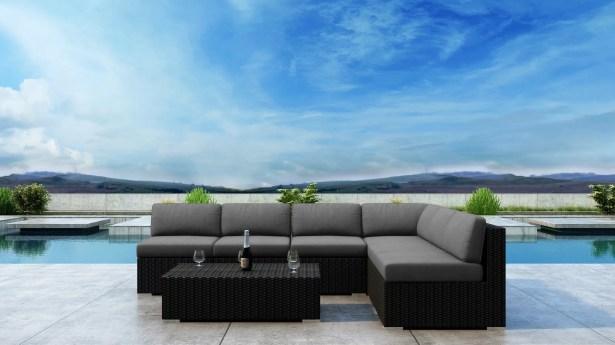 Glendale 7 Piece Sectional Set with Sunbrella Cushion Frame Finish: Coffee Bean, Cushion Color: Cast Lagoon