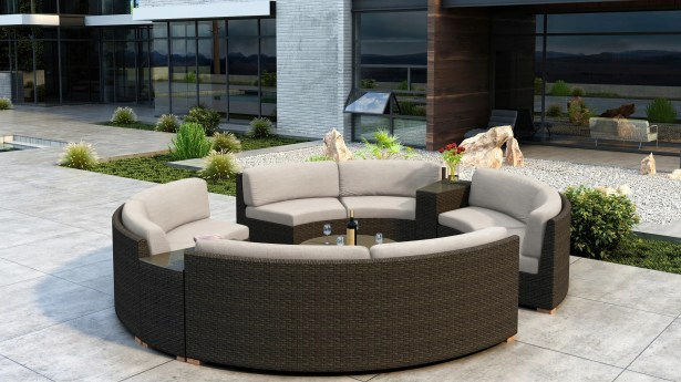 Glen Ellyn 7 Piece Sectional Set with Sunbrella Cushion Cushion Color: Canvas Flax