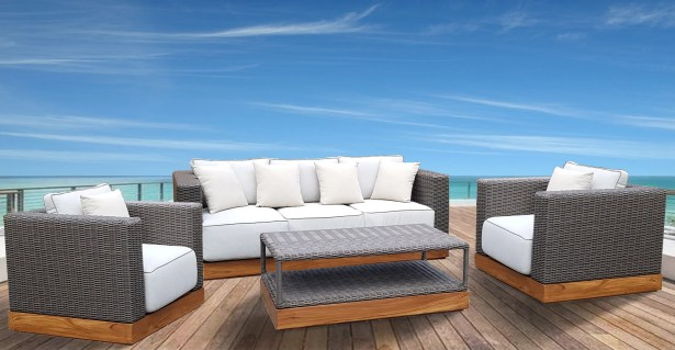 Breedlove 4 Piece Rattan Sofa Set with Cushions