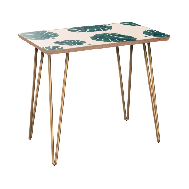Konner End Table Table Base Color: Brass, Table Top Color: Walnut