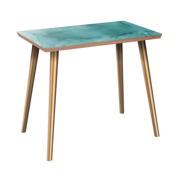 Jaqueline End Table Table Base Color: Brass, Table Top Boarder Color: Walnut, Table Top Color: Pink