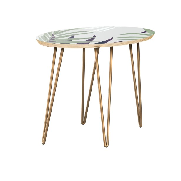Kotomo End Table Table Top Color: Natural, Table Base Color: Brass