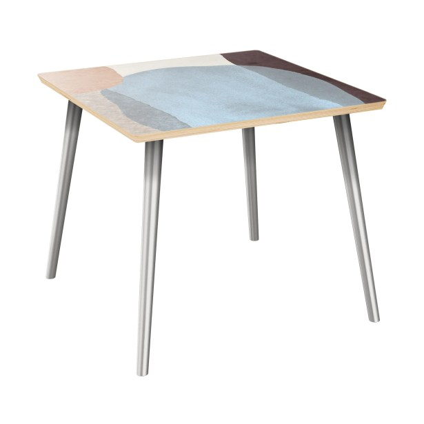 Ewert End Table Table Top Color: Natural, Table Base Color: Chrome