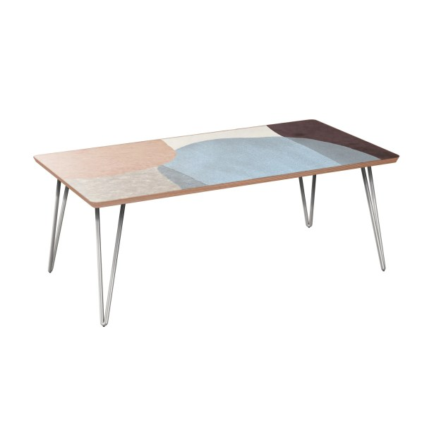 Jed Coffee Table Table Base Color: Chrome, Table Top Color: Walnut