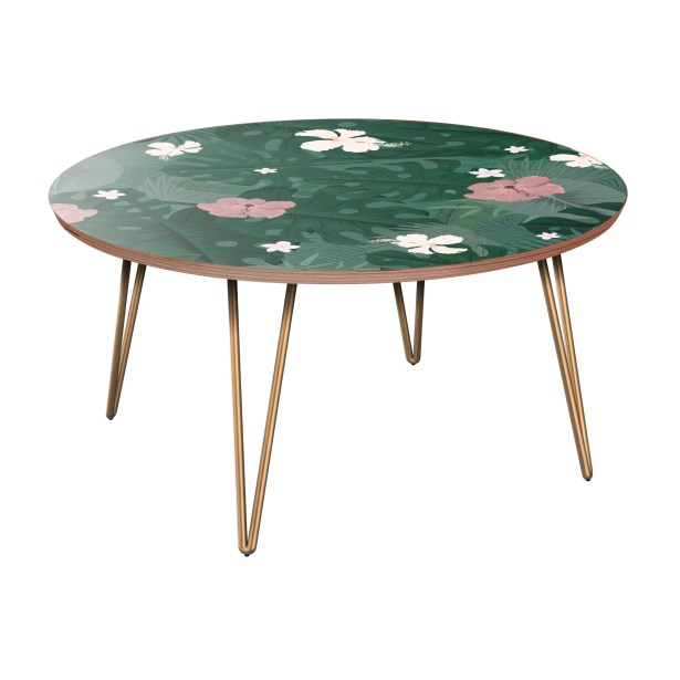 Schick Coffee Table Table Base Color: Brass, Table Top Color: Walnut