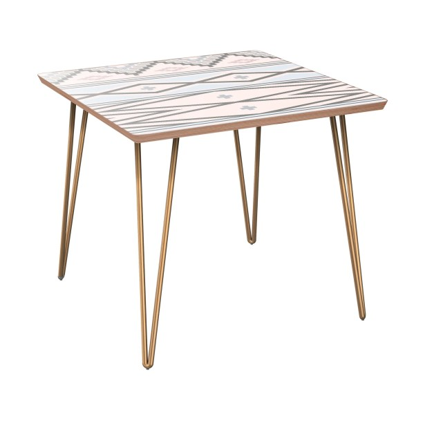 Hulbert End Table Table Base Color: Brass, Table Top Boarder Color: Walnut, Table Top Color: Pink/Blue