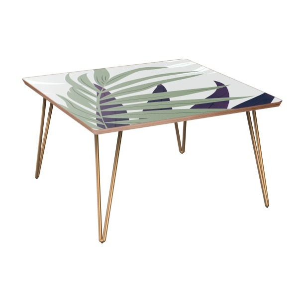 Schiff Coffee Table Table Base Color: Brass, Table Top Color: Walnut