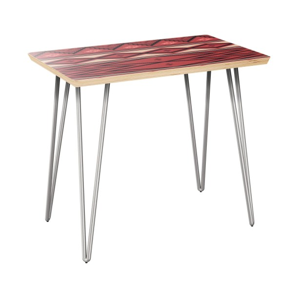 Howze End Table Table Top Boarder Color: Natural, Table Base Color: Chrome, Table Top Color: Red