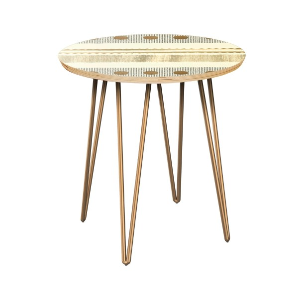 Honn End Table Table Base Color: Brass, Table Top Color: Natural