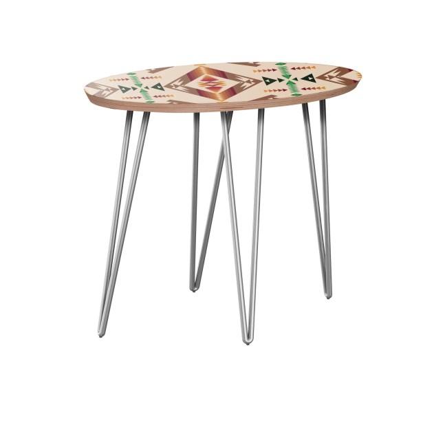 Arbouet End Table Table Base Color: Chrome, Table Top Color: Walnut