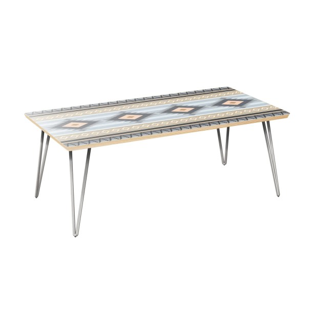 KeeLee Coffee Table Table Top Color: Natural, Table Base Color: Chrome