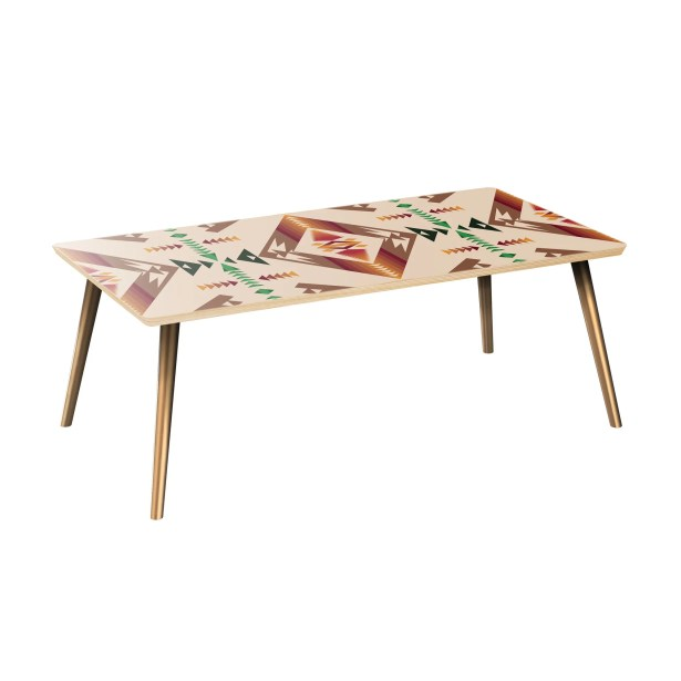 Arabella Coffee Table Table Top Color: Natural, Table Base Color: Brass