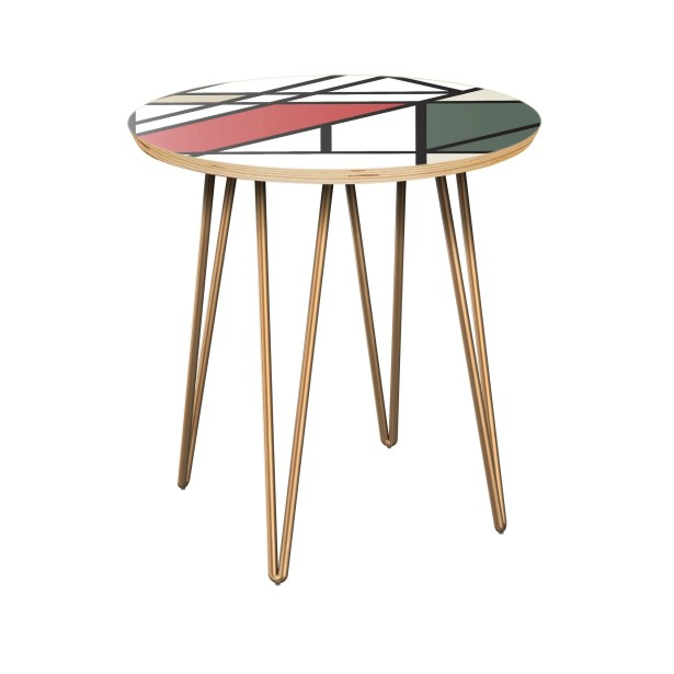 Karin End Table Table Top Color: Natural, Table Base Color: Brass