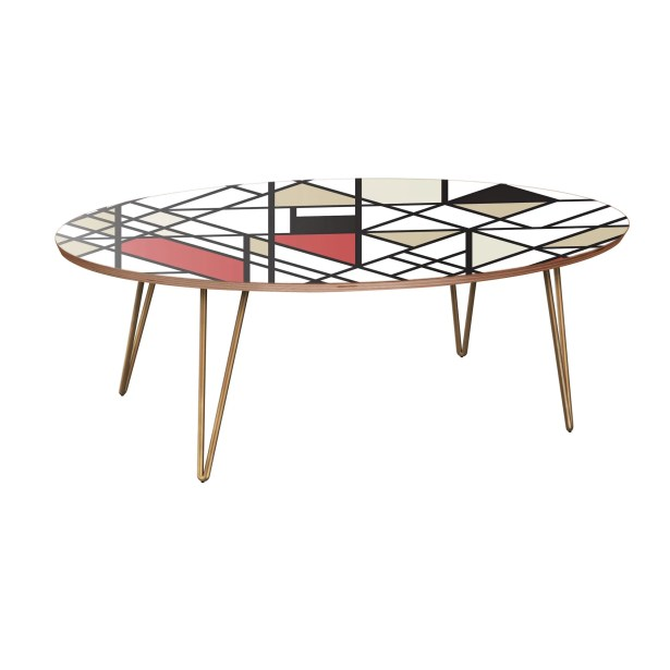 Jamaal Coffee Table Table Base Color: Brass, Table Top Color: Walnut