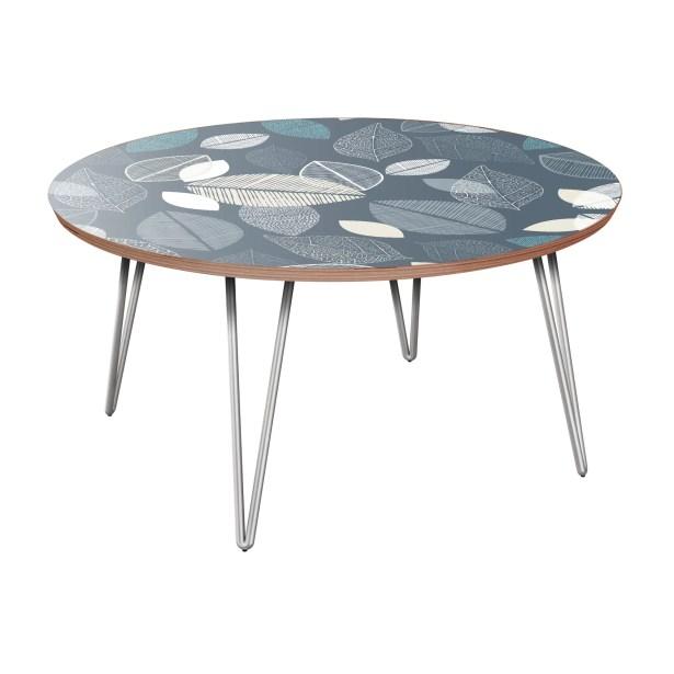 Joshuah Coffee Table Table Base Color: Chrome, Table Top Boarder Color: Walnut, Table Top Color: Blue