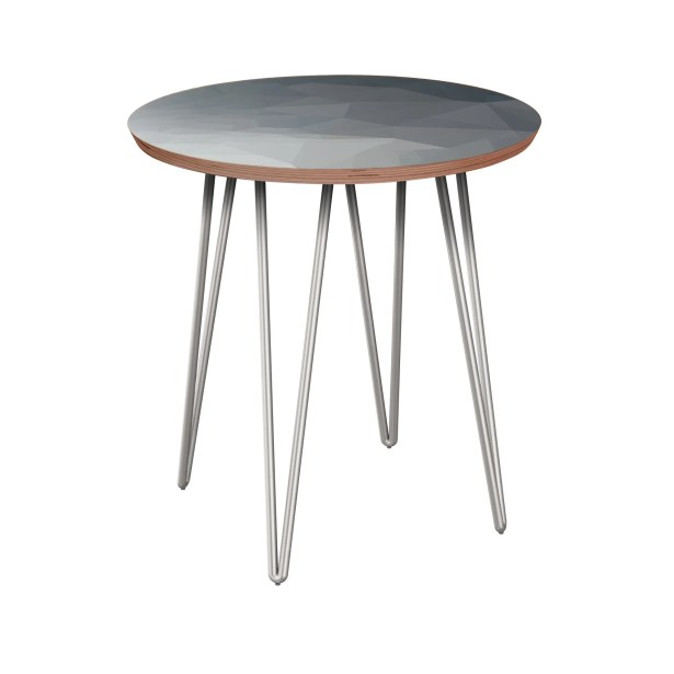 Rauscher End Table Table Base Color: Chrome, Table Top Boarder Color: Walnut, Table Top Color: Blue