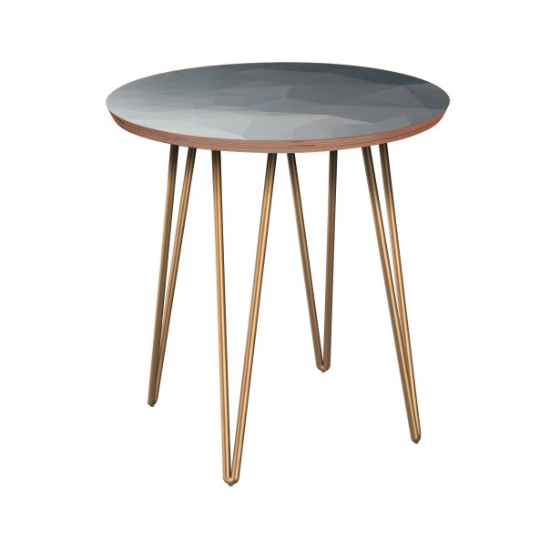 Rauscher End Table Table Base Color: Brass, Table Top Boarder Color: Walnut, Table Top Color: Blue