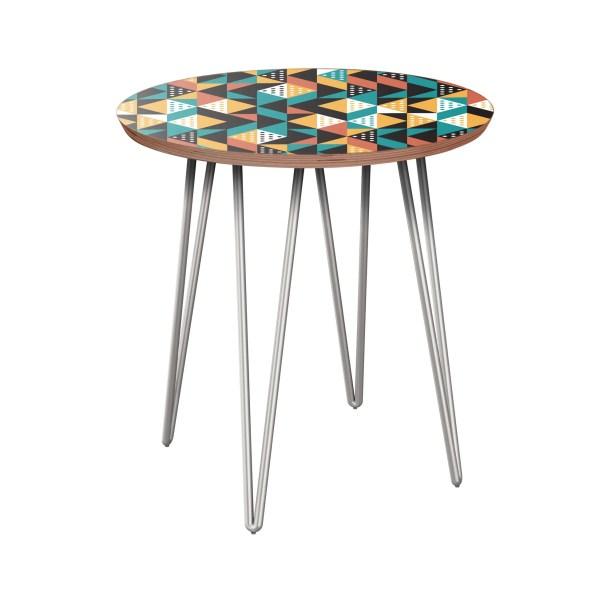 Aprea End Table Table Base Color: Chrome, Table Top Color: Walnut