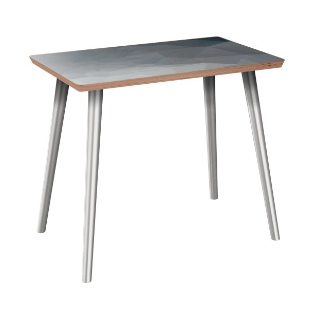 Lake Park End Table Table Base Color: Chrome, Table Top Boarder Color: Walnut, Table Top Color: Gray/Black