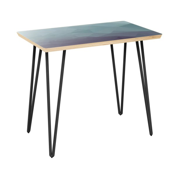 Lake Butler End Table Table Top Boarder Color: Natural, Table Base Color: Black, Table Top Color: Gray/Black